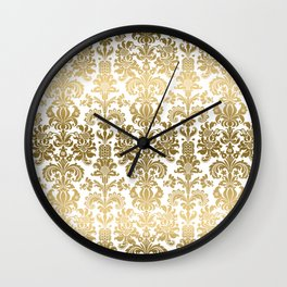 White & Gold Floral Damask Pattern Wall Clock