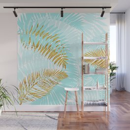 Aloha - Tropical Palm Leaves and Gold Metal Foil Leaf Garden Wall Mural
