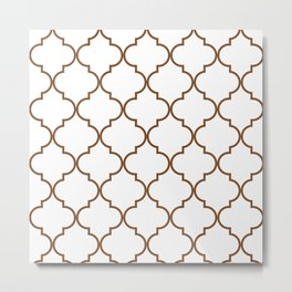 Quatrefoil - Tawny Brown Metal Print