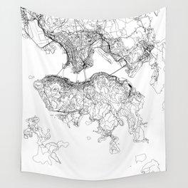 Hong Kong White Map Wall Tapestry