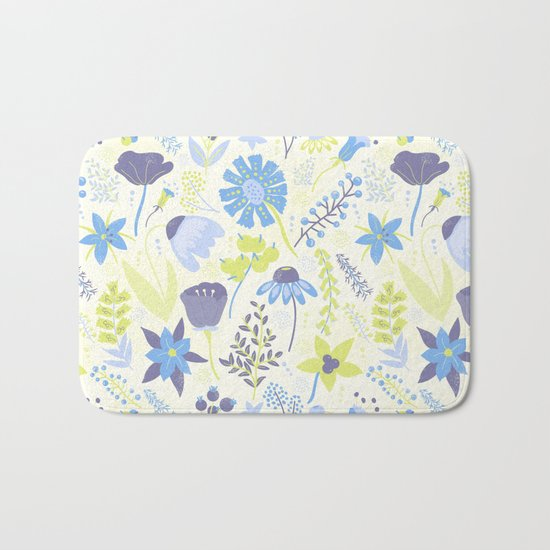 Blue and Purple Wildflowers Bath Mat
