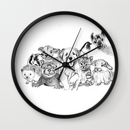 Happiness is animals Wall Clock