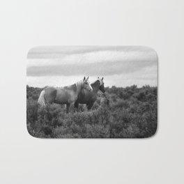 Palomino Buttes Herd - Wild Horses BW Bath Mat