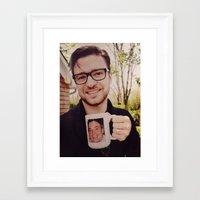justin timberlake Framed Art Prints featuring Justin drinking Jimmy by saratonin5