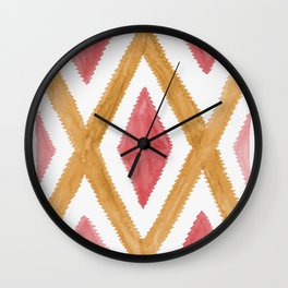 Del Rio Watercolor in Yellow and Pink Wall Clock