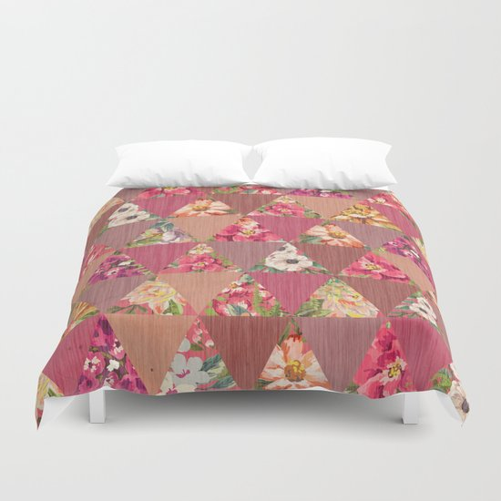 GEOMETRIC MODERN FLOWERS Duvet Cover