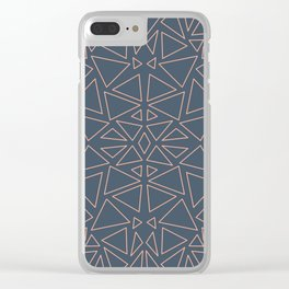 Organic triangles   blue and peach Clear iPhone Case