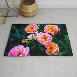 Pink Rose Flowers Against The Green Background Rug