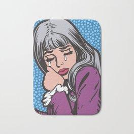 Silver Hair Sad Girl Bath Mat