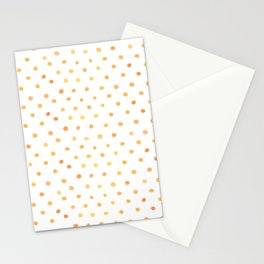 Orange Polka Dots watercolor illustration Stationery Cards
