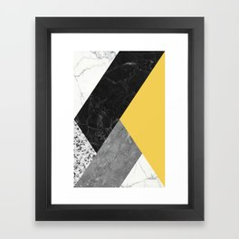 Black and White Marbles and Pantone Primrose Yellow Color Framed Art Print