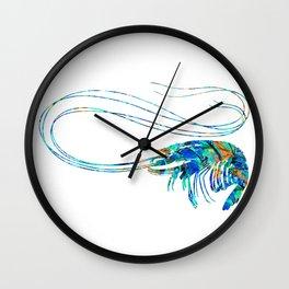 Blue Shrimp Art by Sharon Cummings Wall Clock