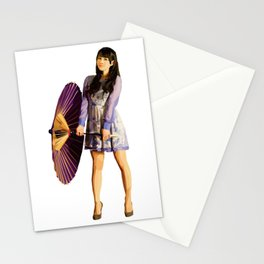 Purple Umbrella Stationery Cards