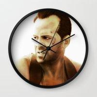 die hard Wall Clocks featuring Die Hard by Alexia Rose