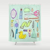 bath Shower Curtains featuring Bath by Lera Efremova