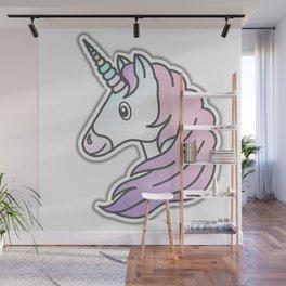 Rainbow Unicorn with pink and purple mane Wall Mural