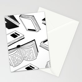 BOOK OBSESSION MONOCHROME PATTERN Stationery Cards