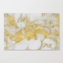 Marble - Yellow Gold Marble Foil on White Pattern Canvas Print