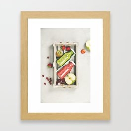 Green and red fresh juices or smoothies Framed Art Print