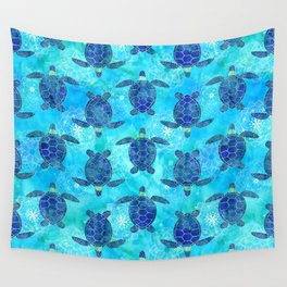 Watercolor Sea Turtles Mandalas Pattern Wall Tapestry