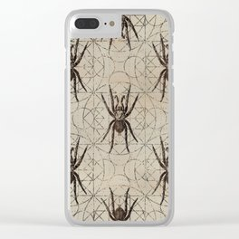 Spider Eurypelma on sacred geometry pattern Clear iPhone Case