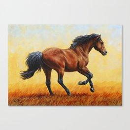 Running Bay Horse Canvas Print