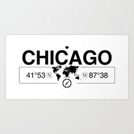 Chicago Illinois GPS Coordinates Map Artwork with Compass Art Print