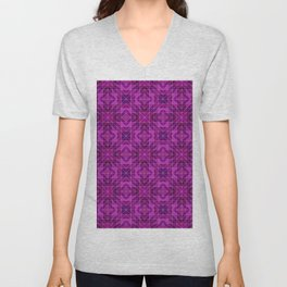 Mosaic in Pink and Puple Unisex V-Neck