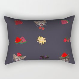 Cute Cats and Fruity Pattern Rectangular Pillow
