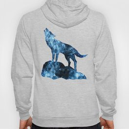 Howling Wolf blue sparkly smoke silhouette Hoody