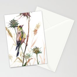 European Goldfinch and Dry Field Plants Stationery Cards