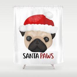 Christmas Pug | Santa Paws Shower Curtain