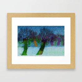 Nightfall snowing Framed Art Print
