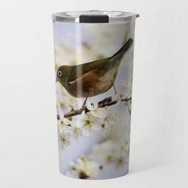 A Bird Perching on a Twig Travel Mug