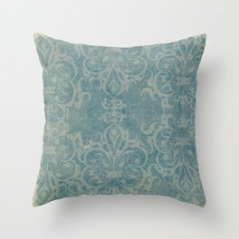 Antique rustic teal damask fabric Throw Pillow