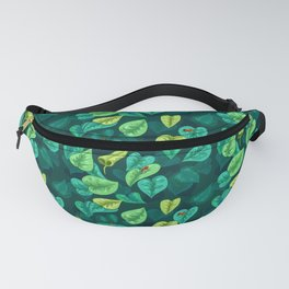 Leaf pattern with red frogs Fanny Pack