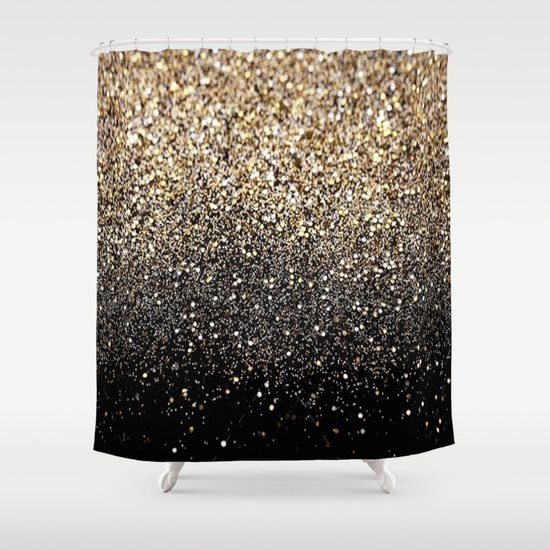 Black Amp Gold Sparkle Shower Curtain By Luxe Glam Decor