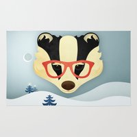 badger Area & Throw Rugs featuring Winter Badger by Jenny Lloyd Illustration