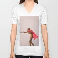 super hero V-neck T-shirts featuring super hero by bmkoc