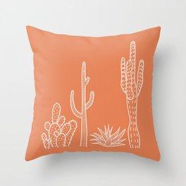 Terracotta cactus illustration white outline art Throw Pillow
