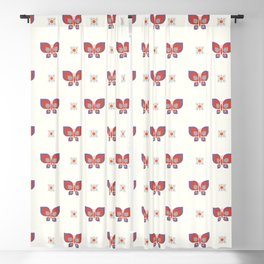 Geometric retro pink butterfly vector pattern in line. Blackout Curtain