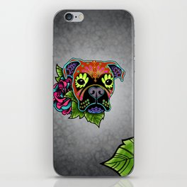 Boxer in Fawn - Day of the Dead Sugar Skull Dog iPhone Skin