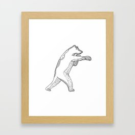 Grizzly Bear Boxing Doodle Art Framed Art Print