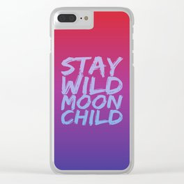 STAY WILD MOON CHILD (Crimson Purple) Clear iPhone Case