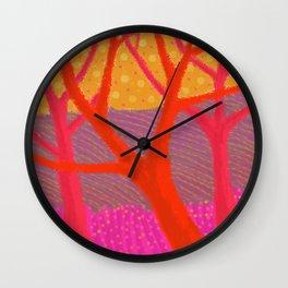 Three Red Trees Wall Clock