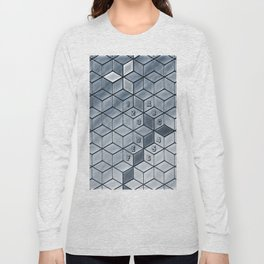 Soft gradient cubes in grey tones Long Sleeve T-shirt