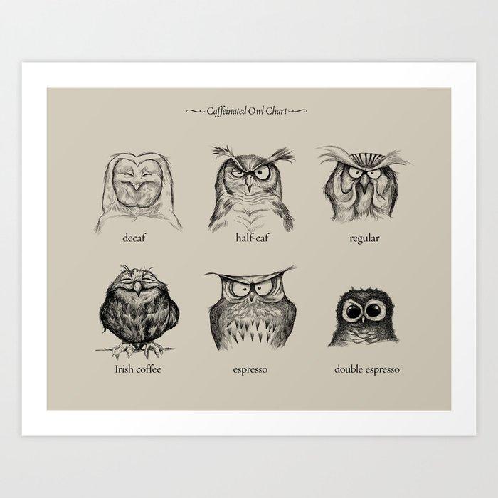 Caffeinated Owls Kunstdrucke