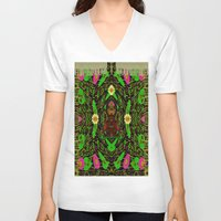 grafitti V-neck T-shirts featuring Lady Pandas Jungle grafitti by Pepita Selles