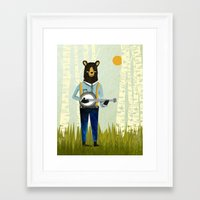 banjo Framed Art Prints featuring Bear's Bourree - Bear Playing Banjo by Prelude Posters