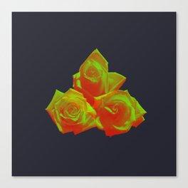 Neon Rose - Triplet - Eggplant Canvas Print